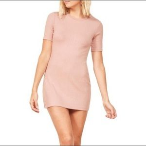 NWT Reformation Jeans Blush Pink Ribbed Knit Dress